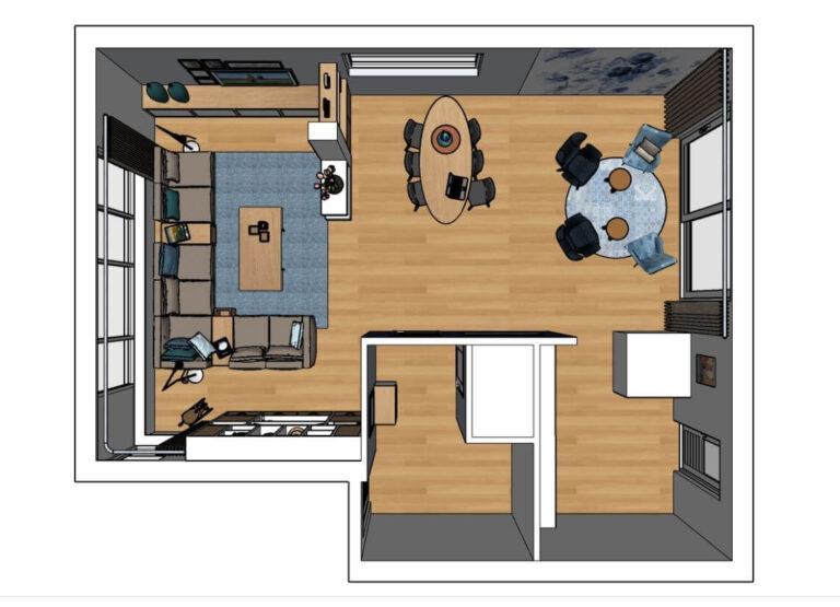 3D bovenaanzicht interieurontwerp woonkamer Lage Zwaluwe