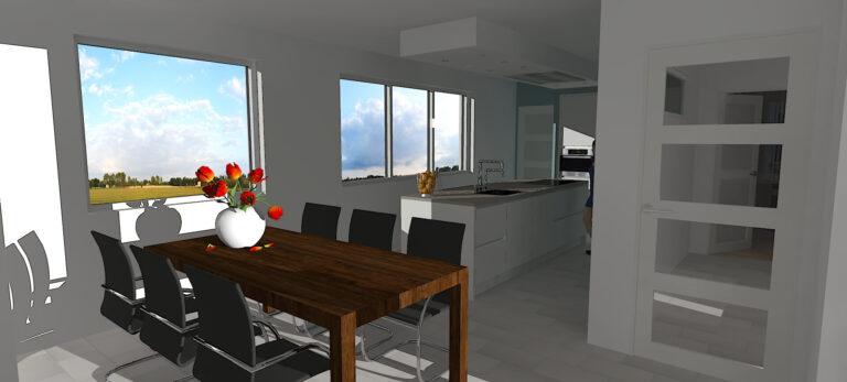 3D keukenontwerp met verbouwing Hoeven