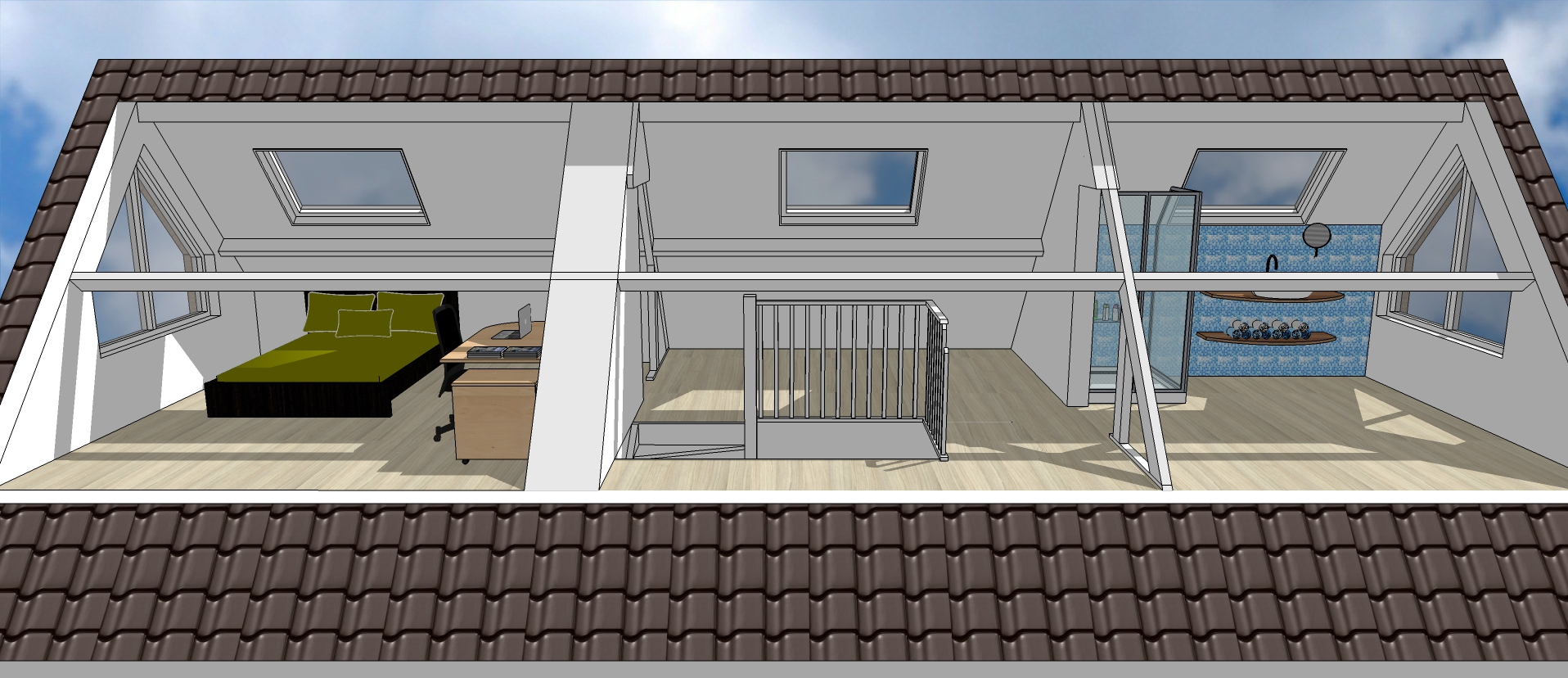 3D verbouwingsontwerp indeling zolder met slaapgedeelte en badkamer