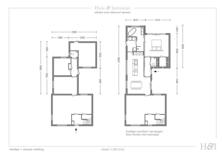 Nieuwe indeling woning. Ontwerp van Huis & Interieur