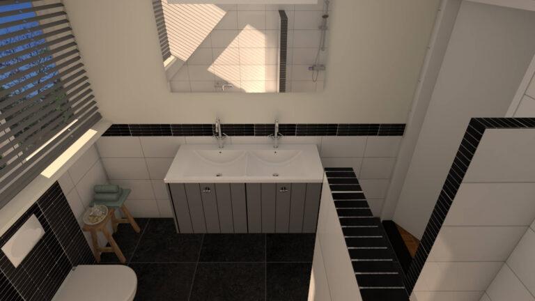 3D impressie ontwerp badkamer door Huis & Interieur